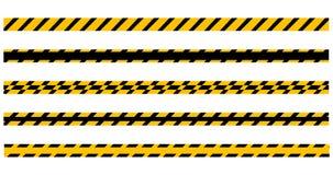 Установите безшовных желтых и черных предупреждающих лент готовых для вашего текста Иллюстрация вектора изолированная на белой пр бесплатная иллюстрация