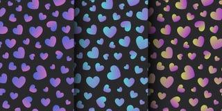 Установите безшовных картин, предпосылок с голографическими сердцами fo иллюстрация штока