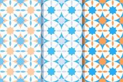 Установите 3 безшовных картин со звездами в одном стиле Красочная иллюстрация, eps10 иллюстрация штока