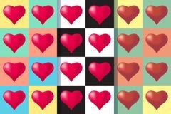 Установите 3 безшовных картин с сердцами, красочной иллюстрацией Оформление праздников дня Святого Валентина иллюстрация вектора
