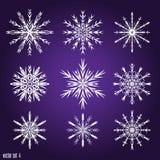 Установите 9 белых различных снежинок Стоковые Фотографии RF