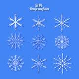 Установите 9 белых различных снежинок handmade с длинной тенью Стоковые Фото