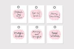 Установите 6 бирок подарка рождества вектора с фразами стоковые изображения