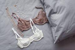 Установите блестящего стильного сексуального женского белья шнурка с аксессуарами женщины на серой предпосылке простынь Покупки и стоковая фотография rf
