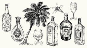 Установите бутылку для рома иллюстрация вектора
