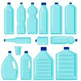 Установите бутылок вектора пластиковых o Проблема экологичности иллюстрация вектора
