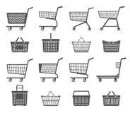 Установите вагонеток и корзин для товаров покупок r иллюстрация вектора