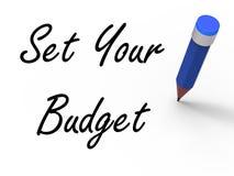 Установите ваш бюджет с записью середин карандаша бесплатная иллюстрация