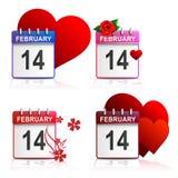 Установите валентинки календарей - белую предпосылку Стоковая Фотография