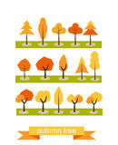 установите валы Плоский дизайн Символы дерева осени Значки дерева иллюстрация вектора