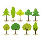 установите валы Символы дерева Значки дерева иллюстрация вектора