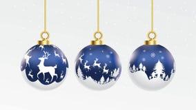 Установите вектора шарики голубого и белого рождества с орнаментами лоснистым украшения изолированные собранием реалистические та иллюстрация вектора