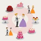Установите вектор свадебных пирогов Комплект дизайна торта иллюстрация Милый вектор на чувствительной предпосылке Вектор графиков Стоковое Фото