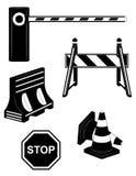 Установите вектор силуэта черноты барьера дороги значков больной иллюстрация вектора
