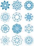 установите вектор снежинок Стоковое Изображение RF