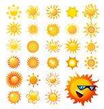 установите вектор солнца Стоковая Фотография RF