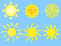 установите вектор солнца Стоковое Фото