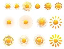установите вектор солнца Стоковые Изображения
