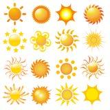установите вектор солнца Стоковое Изображение RF