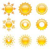 установите вектор солнец Стоковые Фотографии RF