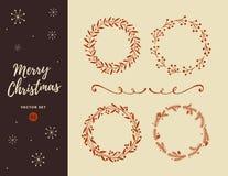 Установите венок рождества нарисованный рукой Стоковые Изображения