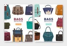 Установите вертикальных шаблонов знамени, летчика или плаката со стильными сумками, рюкзаками и сумками разных видов и места иллюстрация вектора