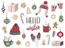 Установите веселого рождества и С Новым Годом! элементов Уютный сезон зимы иллюстрация штока