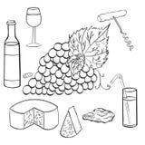 Установите ветвь эскиза виноградин Стоковое фото RF