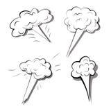 Установите взрывов изолированных на белой предпосылке Monochrome иллюстрация вектора взорванных бомб Шуточные влияния дыма мультф иллюстрация вектора