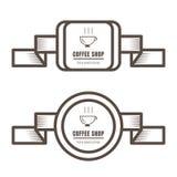 Установите винтажных значков кофе и цвета ярлыков коричневого на белой предпосылке иллюстрация вектора