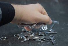 Установите винтажных ключей покрашенных в серебре стоковое фото rf
