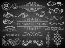 Установите винтажных элементов украшений Расцветает каллиграфические орнаменты и рамки с местом для вашего текста Ретро стиль иллюстрация вектора