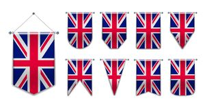 Установите вися флагов КОРОЛЕВСТВА UNUTED с текстурой ткани Формы разнообразия страны национального флага Вертикальный шаблон иллюстрация штока