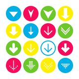 Установите 16 вниз со значков стрелки Кнопки стрелки на белой предпосылке в малиновых, голубых, желтых и прозрачных кругах бесплатная иллюстрация