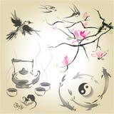 Установите в японский стиль sumi-e Стоковое Изображение RF