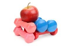 Установите гантели и яблоко Стоковое Изображение RF