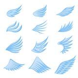Установите голубых крыльев на белой предпосылке иллюстрация вектора