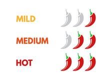 Установите горячего масштаба прочности красного перца Изолированный индикатор со слабыми, средними и горячими положениями значка  иллюстрация штока