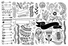 Установите границ рассекателей страницы чертежа руки и стрелка, doodle элементы флористического дизайна стоковые фото