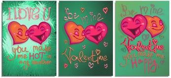Установите графиков открытки, плакатов, на счастливый день Валентайн Сердца мультфильма счастливого цвета яркие падая в любовь и  бесплатная иллюстрация