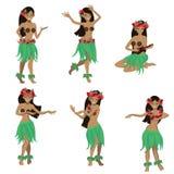 Установите девушки в танце и спойте с положениями гавайской гитары Красивое грациозное гавайское hula танцев девушки в традиционн бесплатная иллюстрация