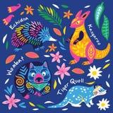 Установите декоративных австралийских животных r иллюстрация вектора