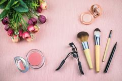 Установите декоративных косметик для составьте стоковые фото