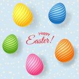 Установите декоративных ярких пасхальных яя в прокладках на светлом элементе предпосылки для дизайна поздравительных открыток для иллюстрация вектора