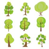 Установите деревьев мультфильма Зеленые растения бесплатная иллюстрация