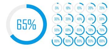 Установите диаграмм процента круга от 0 до 100 для веб-дизайна, интерфейса потребителя UI или infographic - индикатор с голубым ц иллюстрация вектора