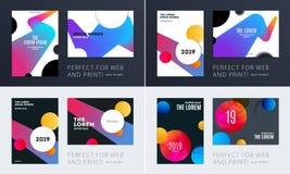 Установите дизайна крышки шаблона брошюры мягкой Красочный современный конспект, годовой отчет с формами для клеймить стоковое изображение