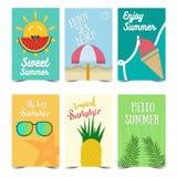 Установите дизайна плаката лета Иллюстрации вектора на летний отпуск, перемещение и каникулы, ресторан и бар, меню, часть и beac иллюстрация вектора