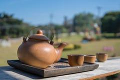 Установите для бака чая с природой в предпосылке Стоковое Изображение RF