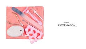 Установите для картины полотенца ножниц пилочки для ногтей pedicure стоковые фото